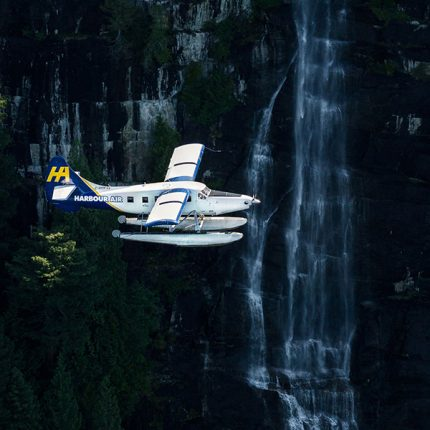 Harbour Air Seaplane and Waterfall